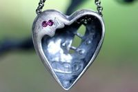 sterling silver sutured heart necklace back view