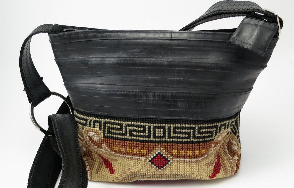 recycled bicycle inner tube bags, journals and jewelry
