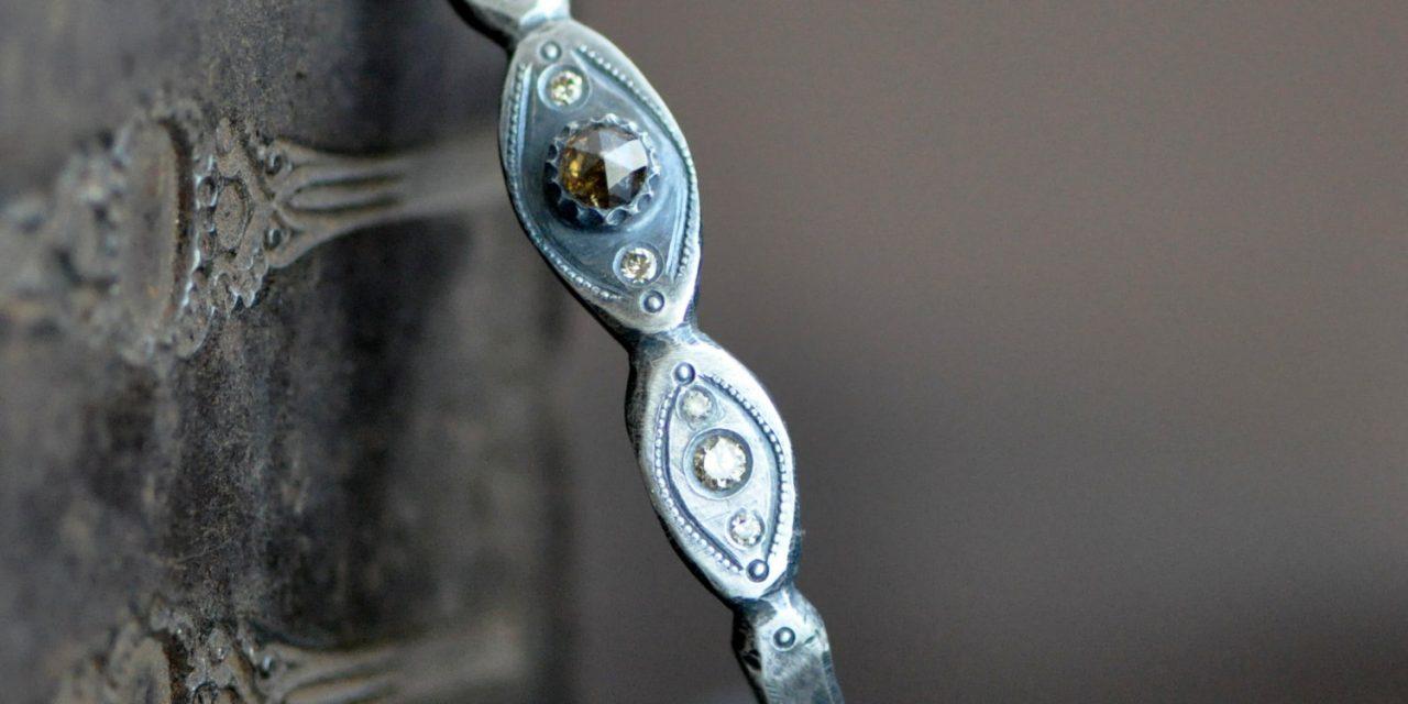 romantic nouveau pattered silver bangle