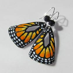 colorful hand painted monarch butterfly earrings