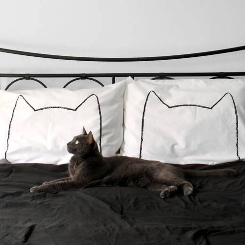 a hip and modern kitty cat pillow case set
