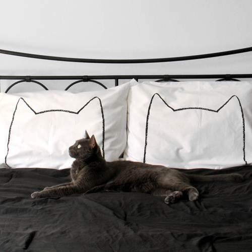 a hip and modern kitty cat pillow case set
