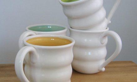 beautiful stoneware mugs and bowls by karin lorenc