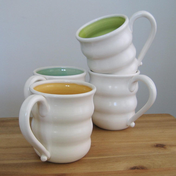 beautiful stoneware mugs and bowls by karin lorenc