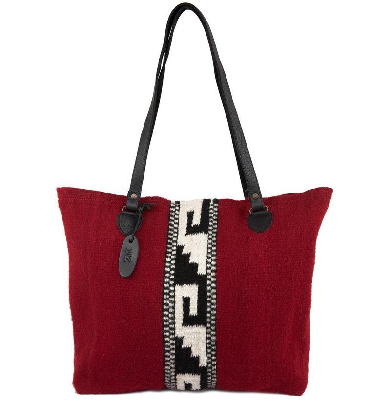 Crimson Mitla Wool Tote