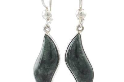 graceful dark green jade earrings