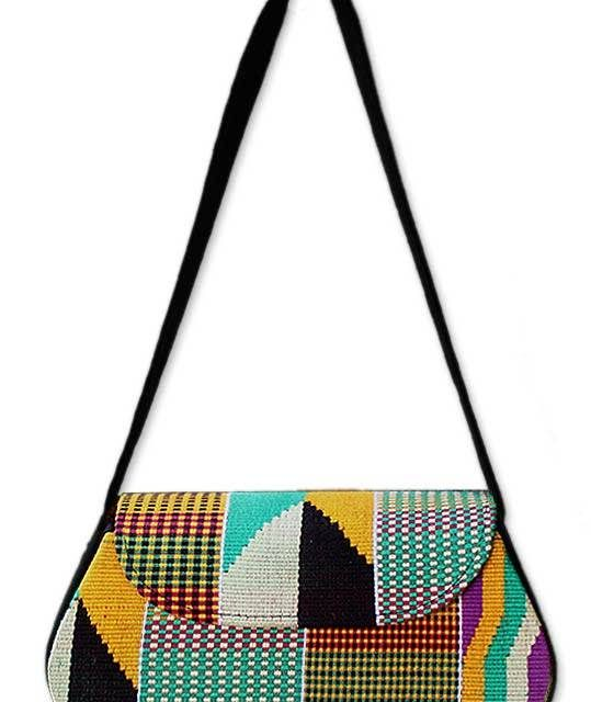 elegant kente cloth shoulder bag