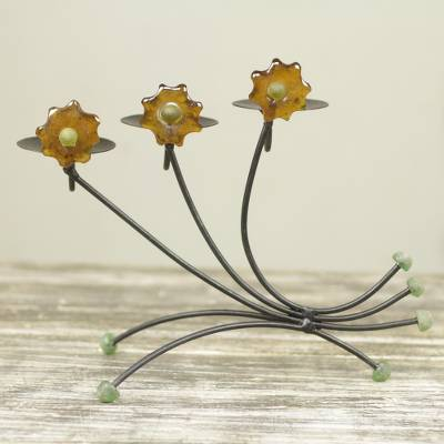 graceful iron and recycled glass candleholder