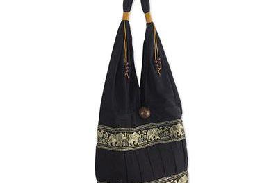 big cotton tote bag with elephant trim