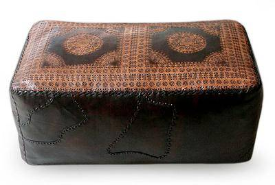 diy cube ottoman and hand tooled leather cover