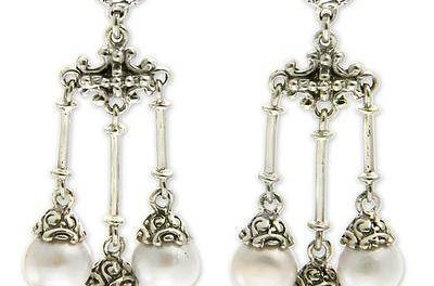 buddha inspired pearl chandelier earrings by zayd makarim