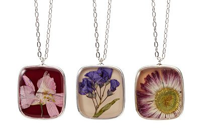pressed flower necklace and earrings by shari dixon