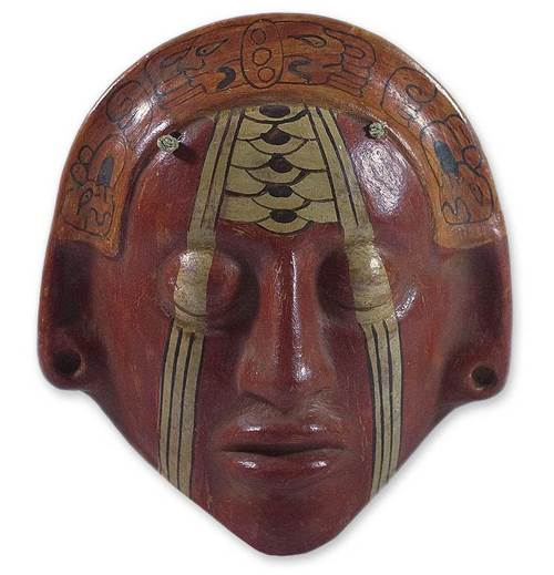 modern ceramic replica of an ancient maya mask