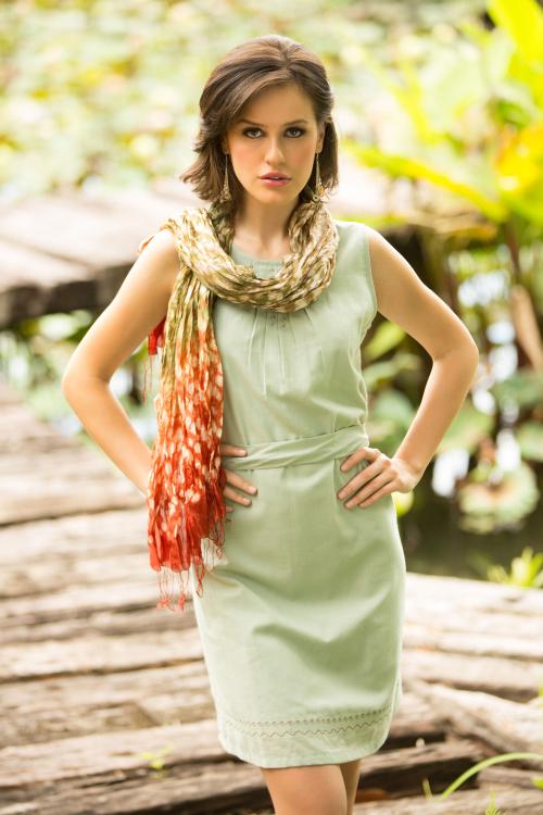 Crinkled Rayon and Silk Tie-Dye Scarf by Vinita
