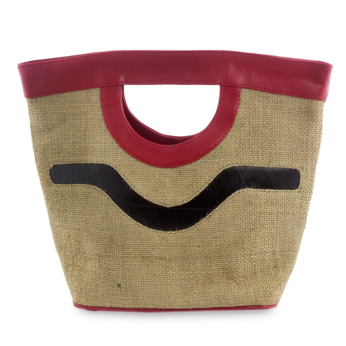 Jute Handbag with Red Trim
