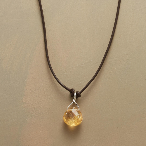 Leather Corded Citrine Necklace