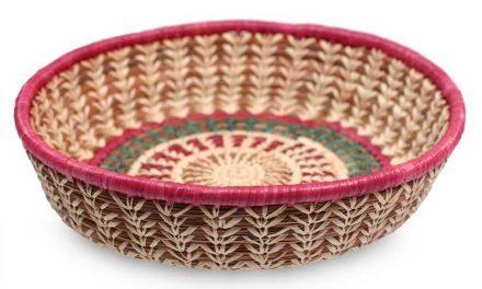 handmade pine needle and rafia basket