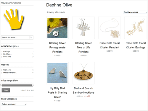 Shopping Portal Page for Daphne Olive