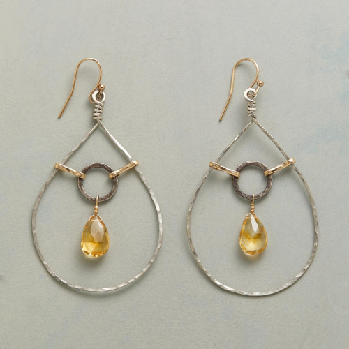 Silver Gold Citrine Teardrop Earrings