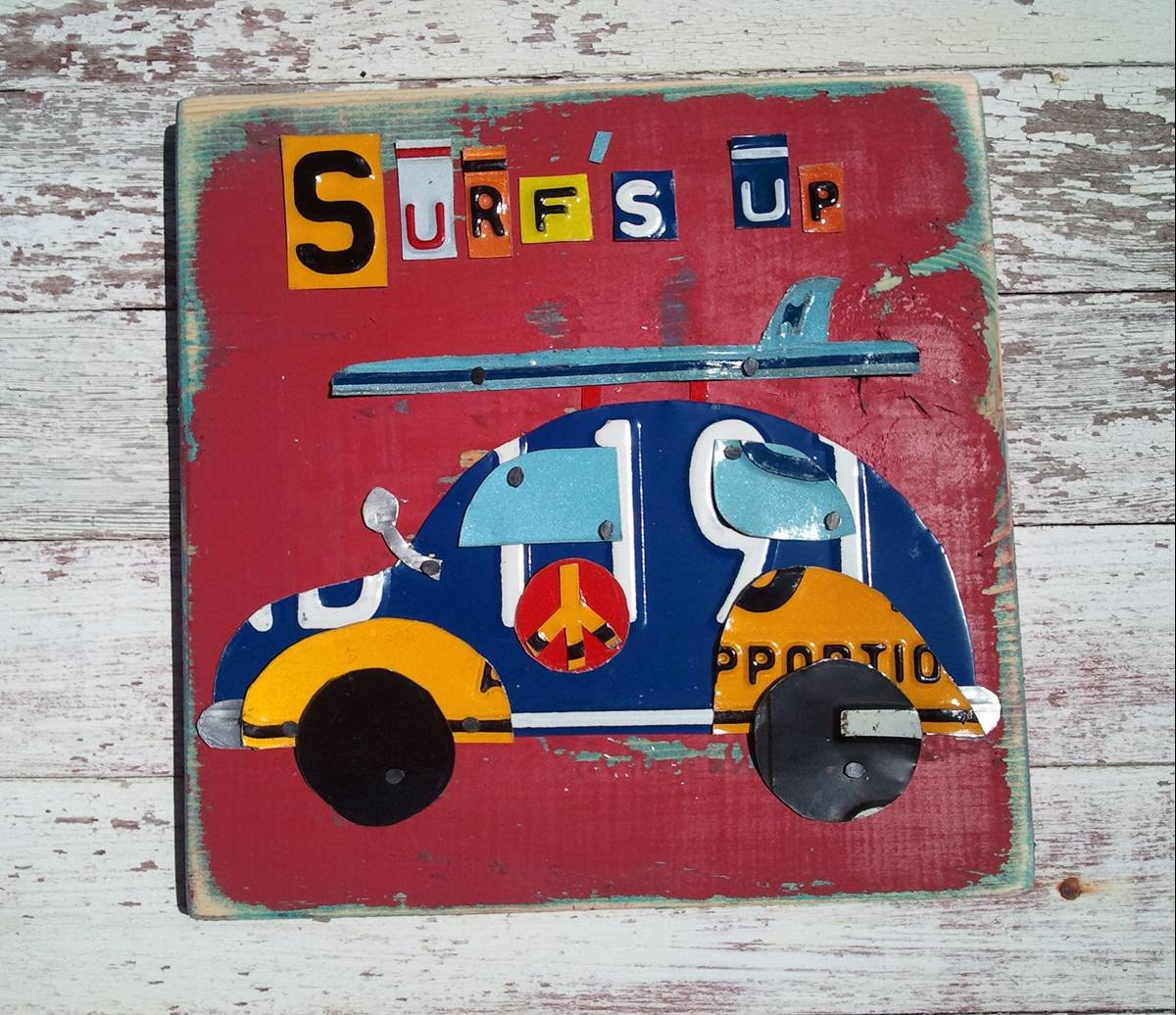 Recycled Art Co. Surfer Art, Surf's Up