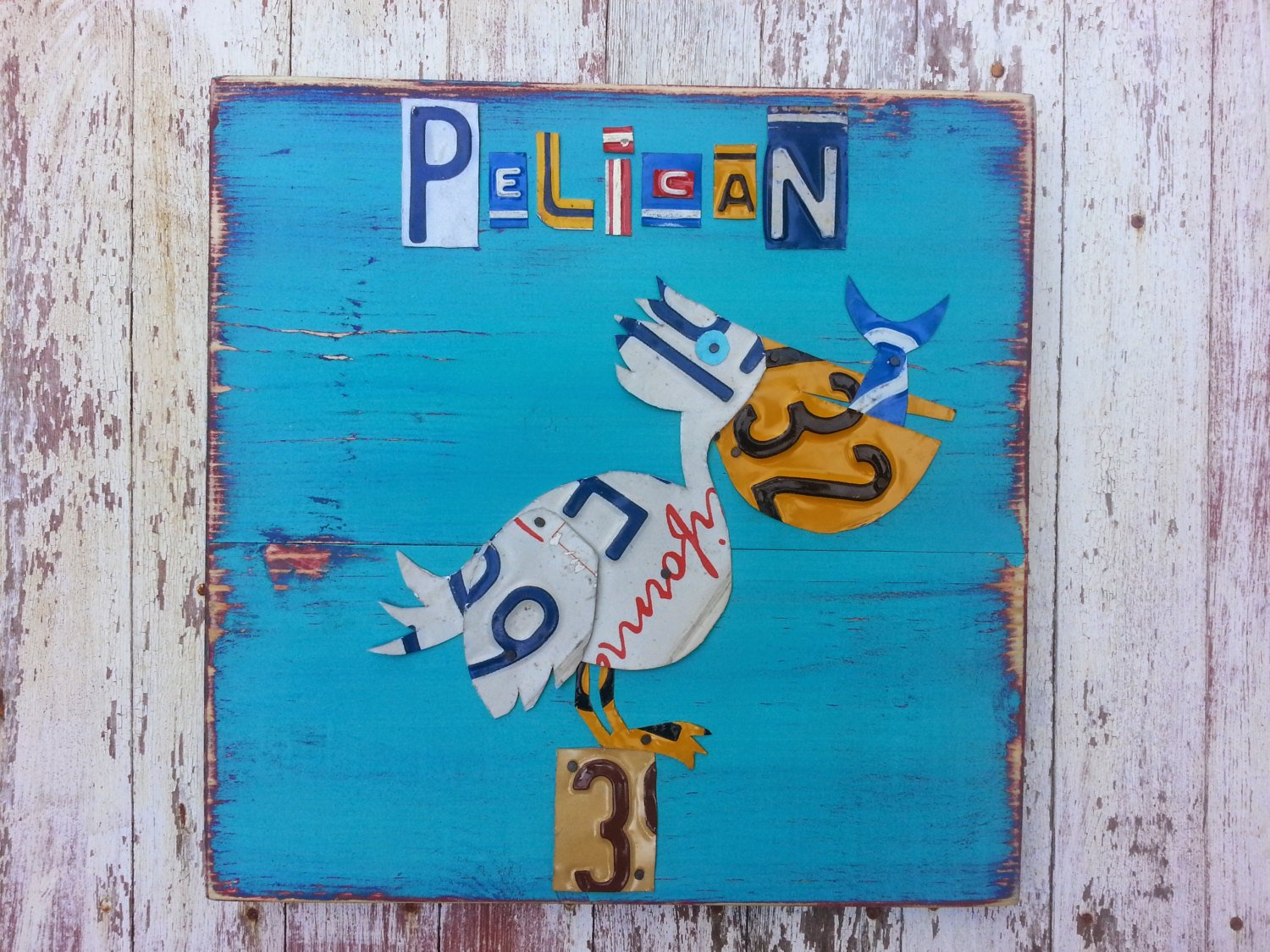 Recycled Art Co. License Plate Pelican Art
