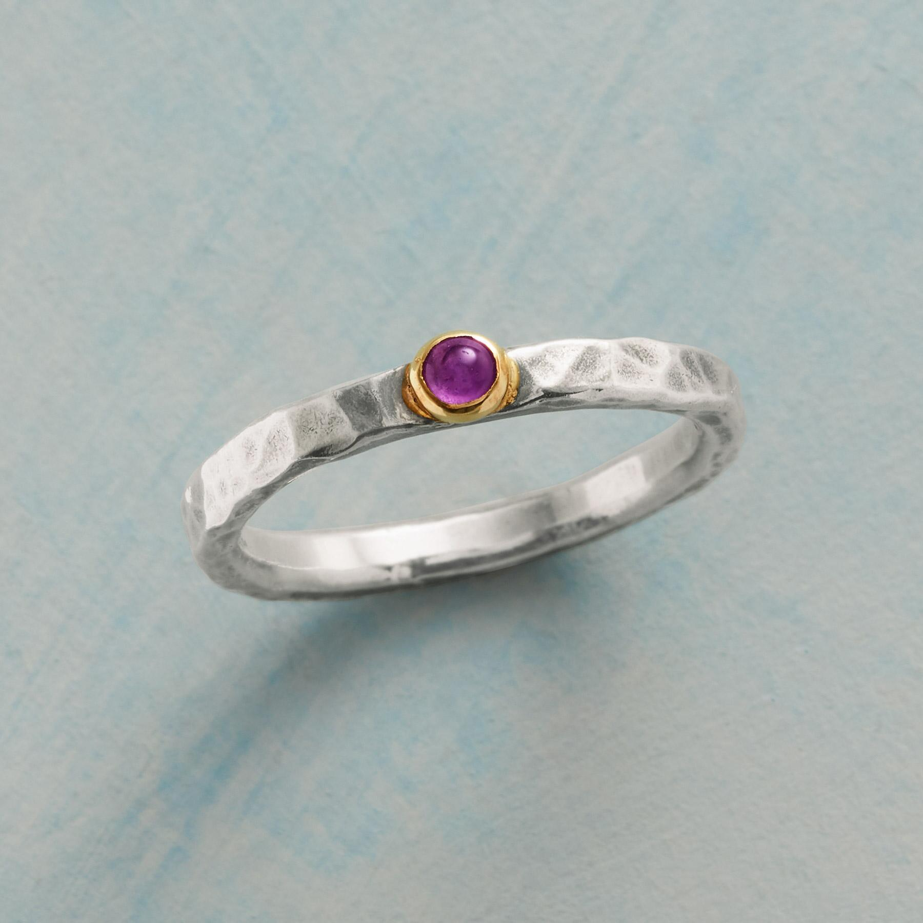 Silver, Gold, and Amethyst Ring
